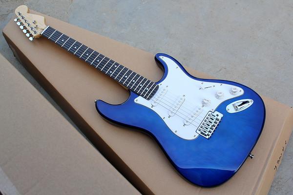 Gülağacı klavyeli, Beyaz Pickguard, Krom donanımıyla Toptan 22 Perde Mavi vücut Elektro Gitar, SSS manyetikler, özelleştirilebilir
