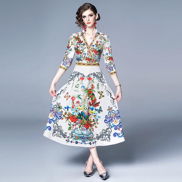 2019 été piste française rétro imprimé floral Robe chemise femme femmes Casual manches 3/4 à encolure en V A-ligne du Parti Designer Robes de célébrité