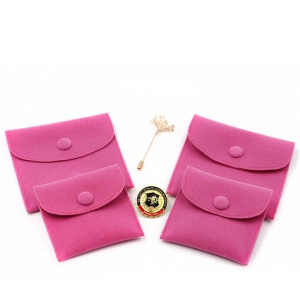 Saco de Embalagem de Presente de Jóias de veludo Pequeno Envelope forma Bolsa com Snap Fastener À Prova de Poeira sacos de Armazenamento de jóias hot pink
