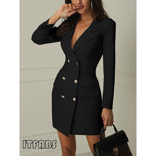 2019 Women Sexy Elegant Trench Coats Double Breasted Gold Button Front Black White Blazer Coat Long Sleeve Outerwear