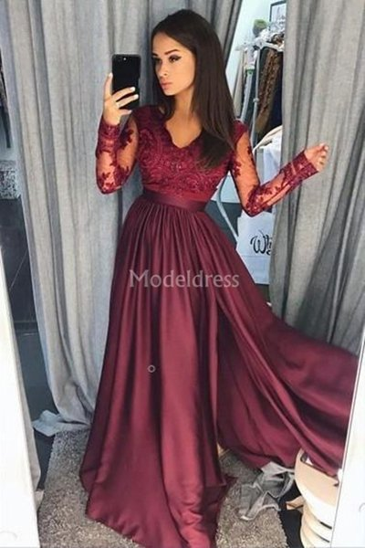 2019 Elegant Lace Burgundy Prom Dresses With Long Sleeves A-Line Sweep Train Illusion Vestidos De Fiesta Stylish Special Occasion Dresses