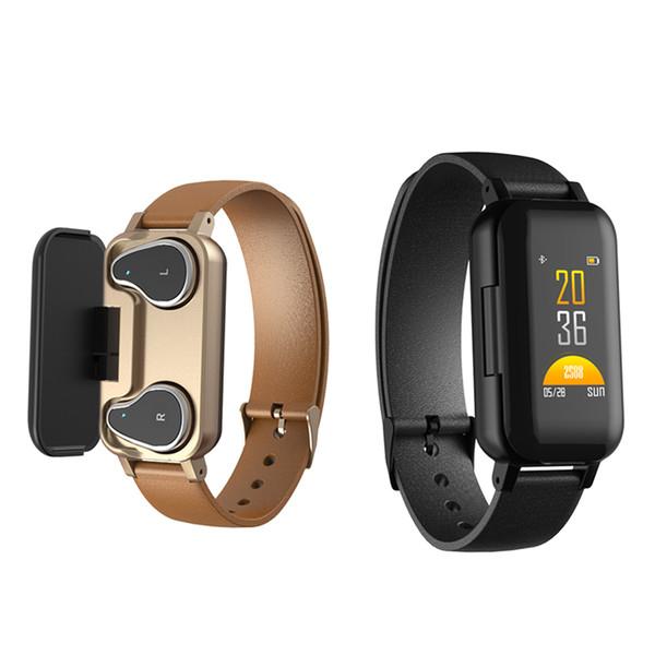 T89 TWS Smart binaurale drahtlose Bluetooth 5.0 Kopfhörer Fitness Armband Pulsmesser Smart Watch Sport Smartwatch für Männer Frauen