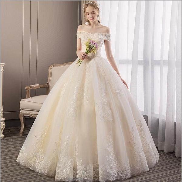 Düğün kadınlar 2019 yeni gelin ana elbise elbise Qi kelime bir omuz prenses retro mahkemesi rüya Fransız