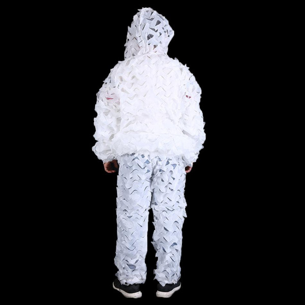 Snow White Camouflage Ghillie Suit Winter Outdoor Sports Snow Ground Camping Hunting Games Clothes Mesh Camo Net Clothes