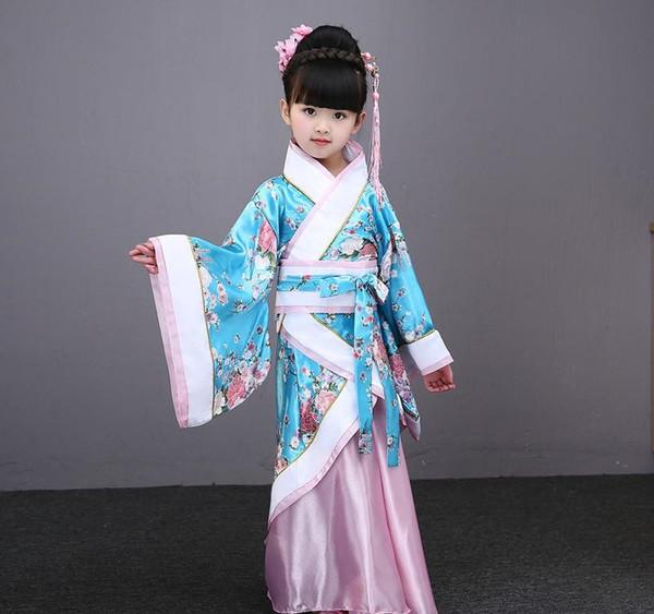 традиционные китайские танцы костюмы для девочек древней оперы таной династии Хань мины Hanfu платье ребенок одежда народных танцы детей