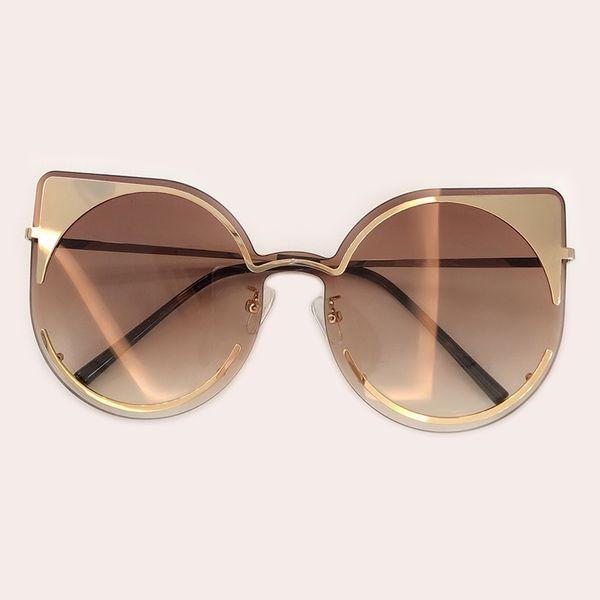 Moda cat eye sunglasses mulheres quadro senhoras gradiente de grandes dimensões óculos de sol para feminino uv400