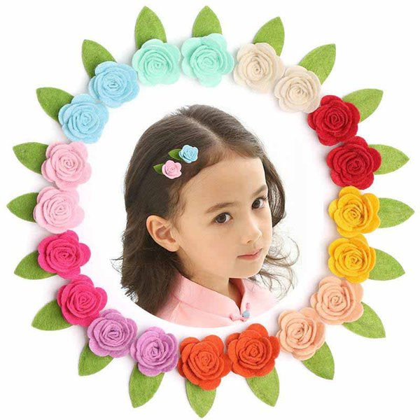 Wholesale 40pcs/lot Kids Hair Clips Cute Pure Handmade Felt Floral Rose Hairpin Multicolor Small Size 3cm Flower Girls BB Pin