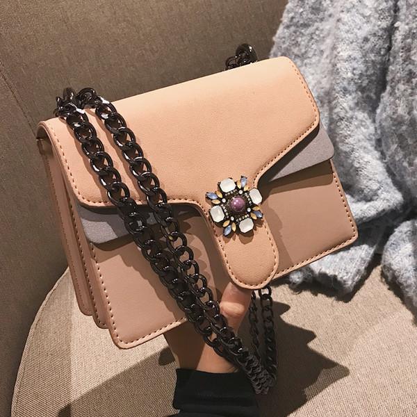 Borsa quadrata delle signore europee di modo 2019 nuove borse a tracolla della spalla della catena della borsa del progettista delle donne del cuoio opaco di alta qualità