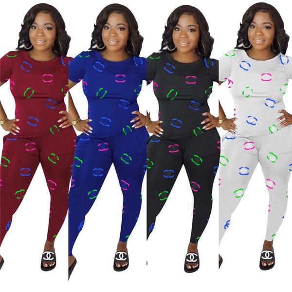 Mulheres Designer de Fatos Roupas 2 Peça Set T-shirt + Listrado Leggings Calças Marca Streetwear Outfits Designer de Fitness Terno C61003