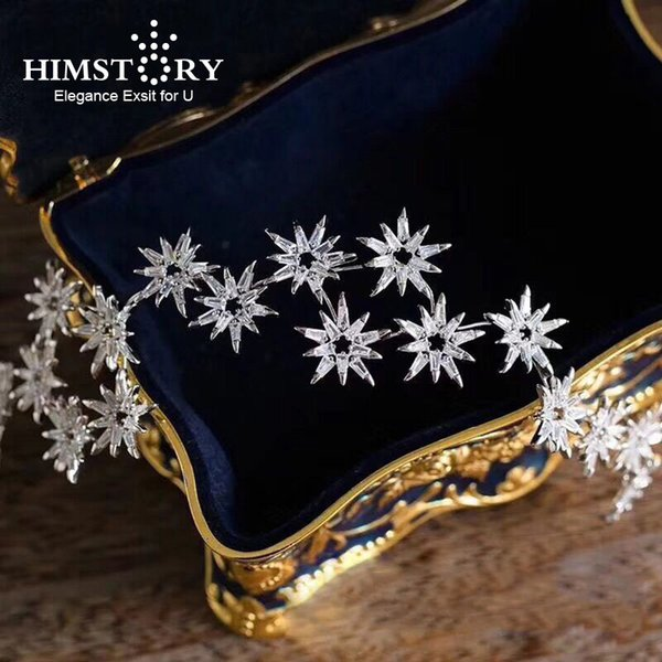 HIMSTORY Micro Paved All Cubic Zircon Tiara Star Tiaras Crown Wedding Hair Accessories Bride Sunflower CZ Diadem Headpiece C18122501