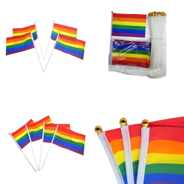 top popular Rainbow Flags Gay Pride Stick Flag 21*14CM Creative Hand Mini Flag Portable Waving Handhold Using Home Festival Party Decor 4954 2019
