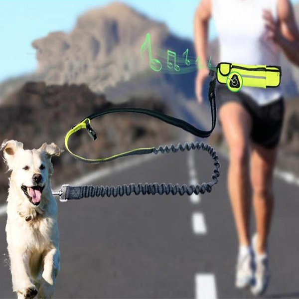 Ganyue Hands Free Elastic Dog Leash Adjustable Padded Waist Reflective Running Jogging Walking Pet Lead Belt With Pouch Bags Q190523