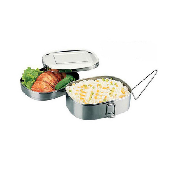 Lunch Box in metallo Bento Box per alimenti in acciaio inox Double Deck Dining Hall per bambini School Office Work Camping