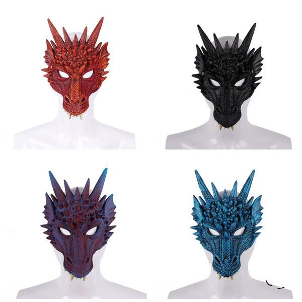 Halloween Party Masken Farbmischung PU Schäumen 3D Vollgesicht Erwachsene Tier Drache Maske Karneval Festliche Lieferungen 11szE1