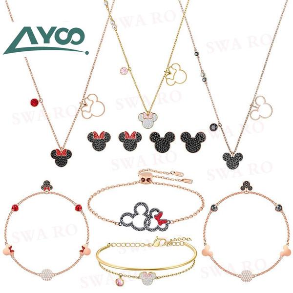 ayoo swa new my mouse faithful companion set, stylish classic mouse crystal pattern necklace earring bracelet set