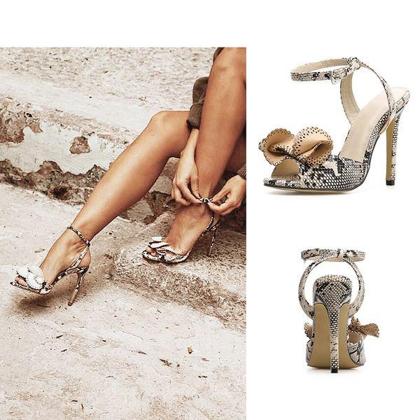 Mujeres del verano sandalias de tacón alto sexy peep toe serpiente patrón diseñador de la marca bowties boda vestido de zapatos de tamaño 35-40