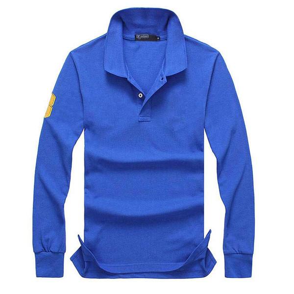 Fashon- T-shirts Polo À Manches Longues En Crocodile Broderie Vêtements Grand Petit Cheval Revers De Luxe Homme Chemise Ralph Cotton Marque Imprimer Homme