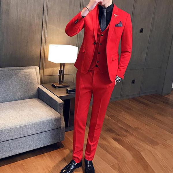 Drei Stück Rote Abendgesellschaft Männer Anzüge 2019 Erreichte Revers Trim Fit Maßgeschneiderte Hochzeit Smoking (jacke + Pants + Weste)