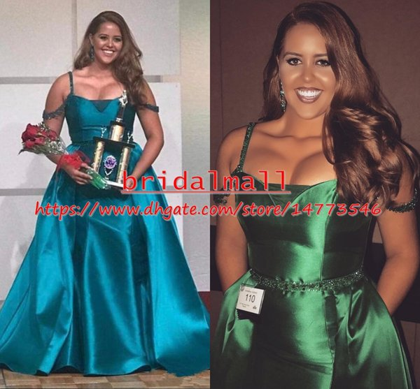 Plus Size 2019 Turquoise Green Satin Mermaid Evening Dresses Beaded Straps Over Skirt Prom Dresses Pageant Sweep Train Formal Party Gowns