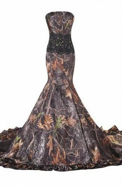 Mermaid Realtree Camo Wedding Dresses Sweetheart Lace Up Appliques Cheap Western country Camouflage Bride Bridal Gowns