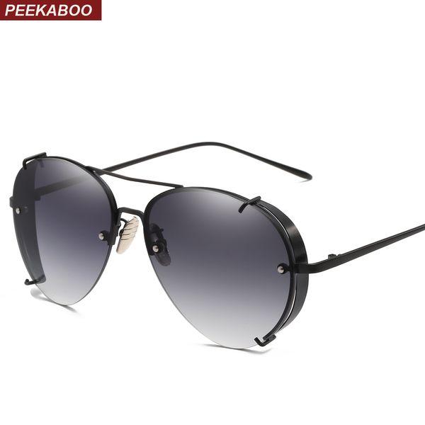 Occhiali da sole neri Peekaboo con protezioni laterali flat top in metallo metà montatura occhiali da sole uomo marrone rosso per uomo donna uv400
