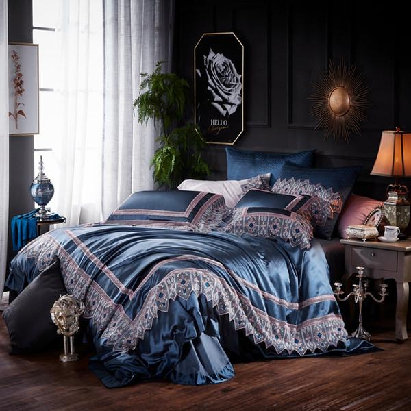 Blue Silk Satin Простыня Постельное белье Роскошные постельные принадлежности Постельное белье Пододеяльник Queen King size Постельное белье parure de lit ropa de cama