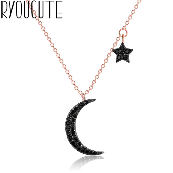 Trendy 925 Sterling Silver Moon Star Necklaces For Women Choker Necklaces Statement Party Jewelry Accessories Collar Bijoux
