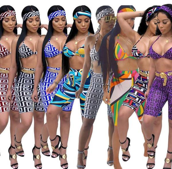 Femmes Shorts Soutien-Gorge Deux Pièces Set Imprimer Poitrine Wrap Pantalon Court Tenues Bodycon Pantalon Court Gilet Plaid Sport Suit Sexy Night Club vêtements