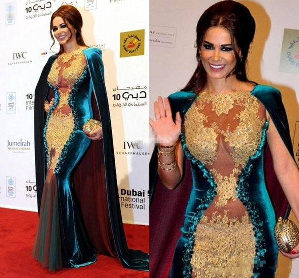 New Arrival Velvet Celebrity Prom Dresses with Cloak Illusion Appliqued Beaded Sexy Mermaid 2020 Plus Size Arabic Myriam Fares Prom Gowns