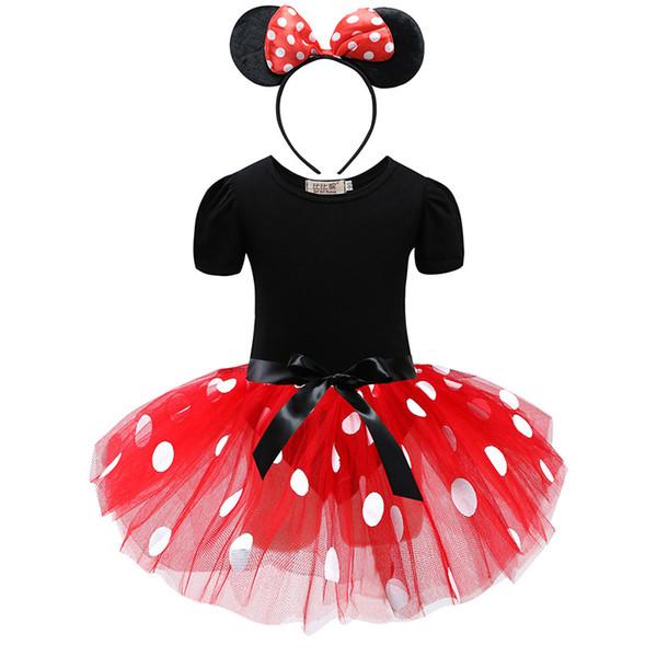 Lovely Girls Pink Cartoon Tutu Dress Baby Tulle Tutus With Dots Headband Kids Birthday Party Dress ballet dance dress tutu skirt costume