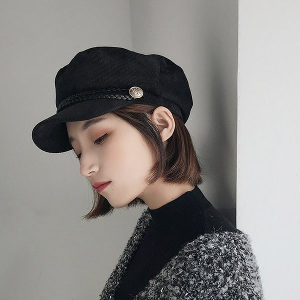 Autumn and winter military cap children British and Korean style corduroy navy berets go well with black painter's octagon