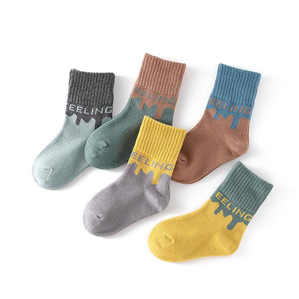 Bebek çorap ilkbahar ve sonbahar pamuk orta tüp nefes çorap erkek ve kız çorap 1-12 yaşında toptan