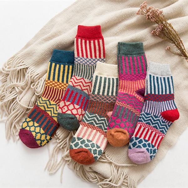top popular Women National style Sock Wool Socks Winter Thermal Warm Socks Female Crew Ladies Colorful Thick Socks LJJA2529 2020