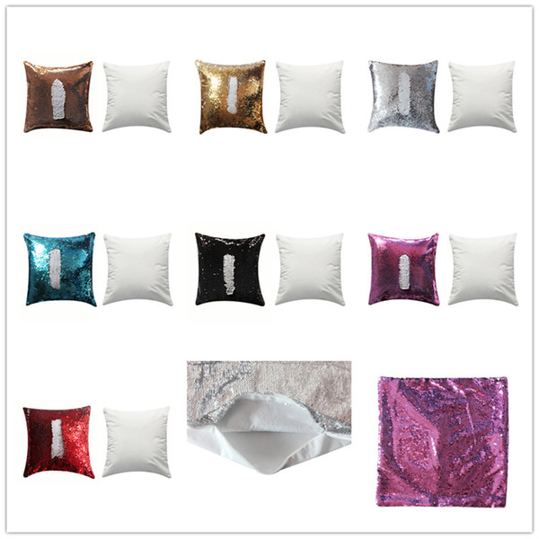 best selling new arrival sublimation magic sequins blank square shape pillow cases hot transfer printing DIY Consumables pillow case 40*40cm
