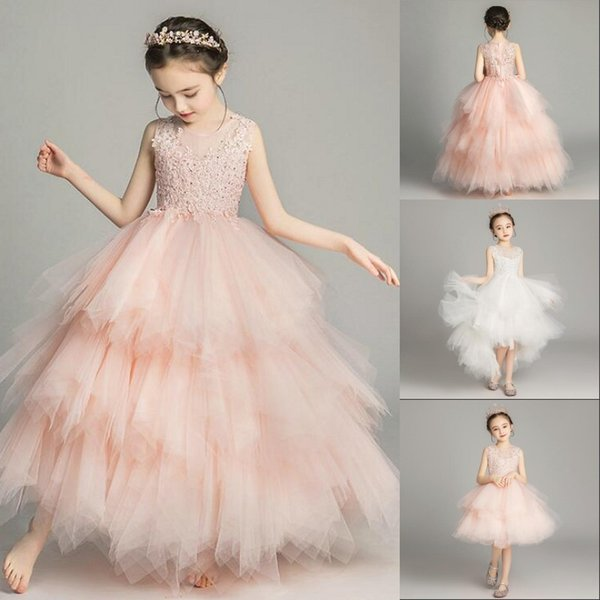 top popular Cheap 2019 Sleeveless Lace A Line Flower Girl Dresses Vintage Tulle Applique Tiered Hi-Lo Girls ' Pageant Party Dresses Real Image 2019