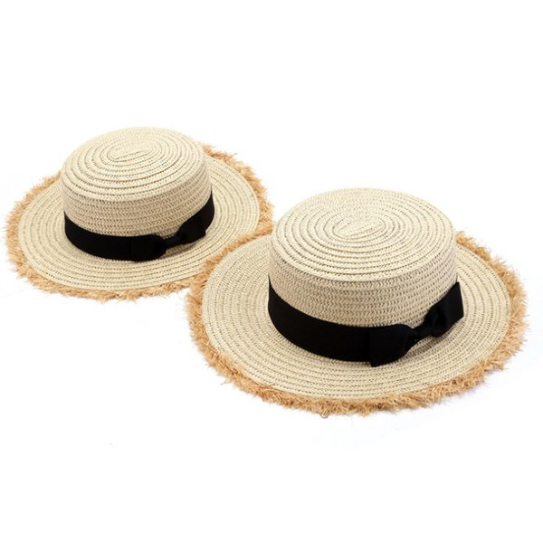 Muchachas del verano de la borla del sombrero de paja de los niños Arcos princesa sunhat niños playa accesorios de vacaciones moda niño ala floppy sol tapas F6466