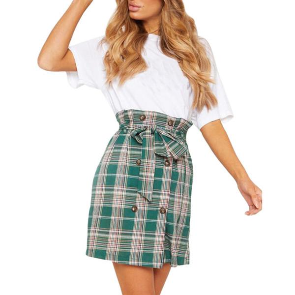 Vêtements Printemps Eté Jupes Femmes Taille Haute Imprimé À Carreaux Crayon Mini Lacets Bow Boho Corée Style Vert Couleur Femme
