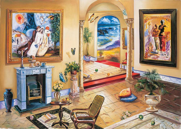 Alexander Astahov Interno con Chagall Home Decor dipinto a mano HD Stampa della pittura a olio su tela di canapa di arte della parete della tela di canapa Immagini 191210
