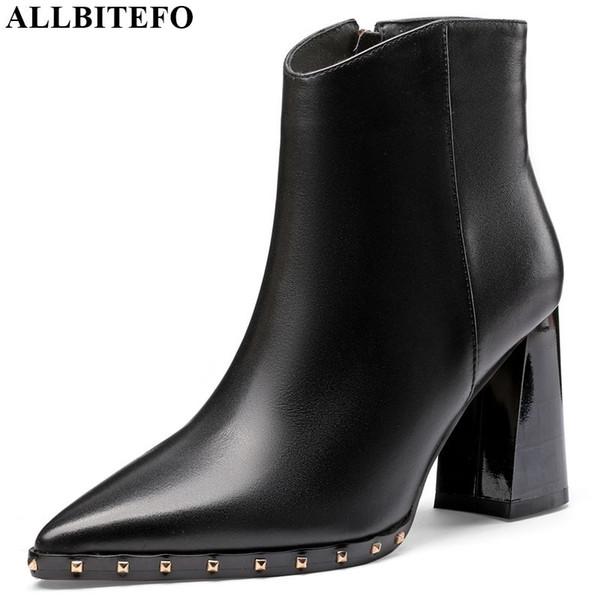 ALLBITEFO botas de mujer de cuero genuino real Otoño Invierno Botines de remache de metal ocio cómodo moda de tacón alto