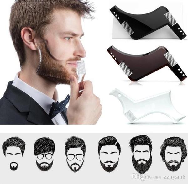 2019 Hommes Barbe Shaping Styling Modèle Outil Double Face Barbe Peigne Beauté Outil Rasage Épilation Rasoir Outil pour Hommes