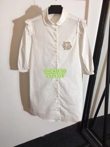 Camicia da donna di marca Sunway Abiti con ricamo di lettere di perle Camicia di alta qualità sul vestito da mini abito al ginocchio