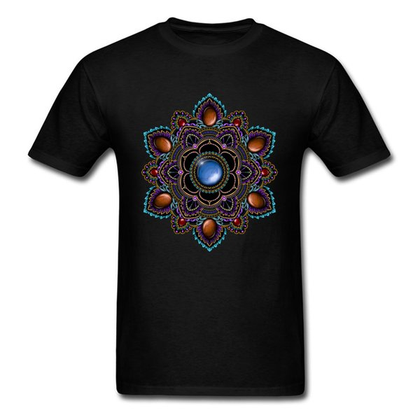 Om T-shirt Dos Homens Tshirt Preto Roxo Teal Mandala Com Pedras Preciosas Geométrica Designer T Camisas Do Presente Do Dia Do Pai Camisolas Legal