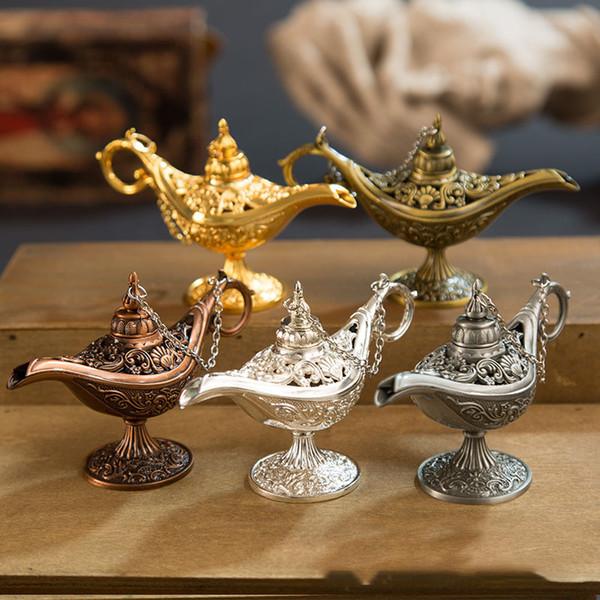 Fiaba Aladdin Magic Lamp Vintage Censer Creativo Metallo Aroma Bruciatore Multi color Bruciatori di incenso Nuovo Arriva 515