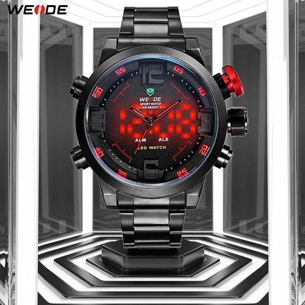 Weide Relógio Esportivo Calendário Analógico Digital Data Alarme Militar Men Quartz Relógio de Pulso Relogio masculino Relógio Cronógrafo Preto Y19051703