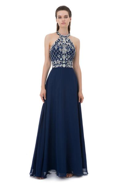 Sexy Navy Blue Halter Evening Dresses Crystal Beaded A Line Chiffon Long vestido de noite Prom Party Gowns Celerity Formal Bridal Dresses
