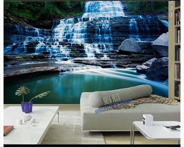 custom size 3d photo wallpaper living room bed room mural waterfall water view 3d picture sofa TV backdrop wallpaper non-woven wall sticker