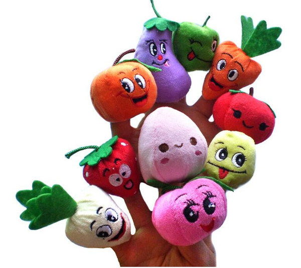Wholesale 50pcs=5lot Fruit Vegetable Finger Puppets Story telling Doll Kids Children Baby Educational Toys RPG use Role play Toy Group