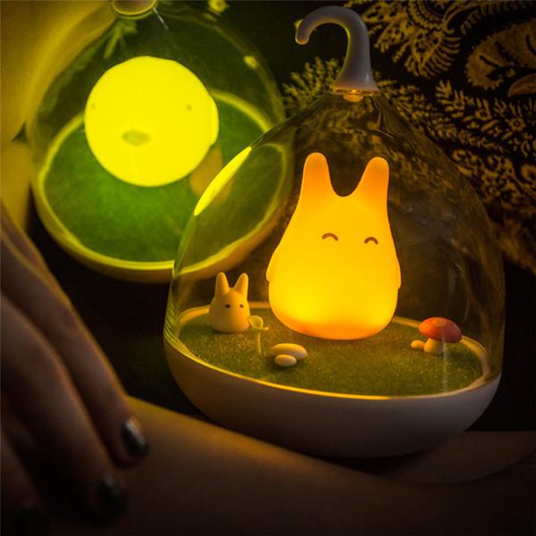 Creative LED USB Night Light Totoro bébé mignon de lumière portable capteur tactile lampe de chevet pour cadeau Chambre Sleep Home Décor SY0277
