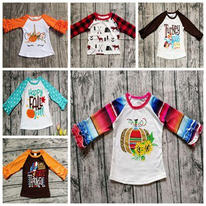 2019 bébé fille automne vêtements enfants halloween costumes noël dinde t-shirts tops filles boutique vêtements à volants raglan t-shirts licorne chaude