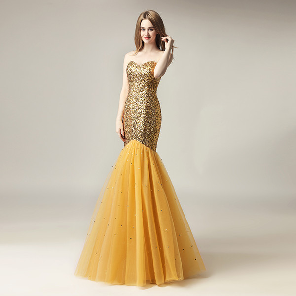 top popular 2020 Cheap Sparkly Mermaid Formal Party Wear Sexy Prom Evening Dresses Sequined Gold Floor Length Plus Size 2019